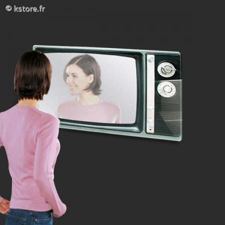 Miroir mural en forme d 39 cran de t l vision vintage for Ecran en miroir
