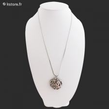 Collier long argenté